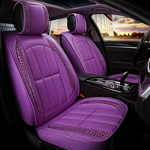 to, 5 Sitzer Fahrzeug Universal Vorne und Hinten Full Set Leder Motion Leopard Vier Jahreszeiten Pad Kompatibler Airbag (Farbe : Lila) ()