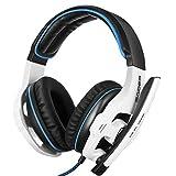 Sades SA-903 7.1CH Stereo Bässe und Höhen Headset Mit USB-Stecker PC-Gaming Kopfhörer mit weichen Ohrpolstern und Mikrofon Verkabelt 3m Kabel - Für Film, Chat, Musik