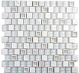 Mosaik Fliese Transluzent Kunststoff weiß Glasmosaik Crystal Stein weiß für BODEN WAND BAD WC DUSCHE KÜCHE FLIESENSPIEGEL THEKENVERKLEIDUNG BADEWANNENVERKLEIDUNG Mosaikmatte Mosaikplatte