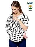 #9: Feather Hug 360° Nursing Cover for Breastfeeding mother, women, Mom, Multi Use, Feeding Cloak,Poncho, scarf, ups, Wrap, Breathable, Canopy, Babysitting, Maternity, Kurti, Shawl, Apron, Poplin (Black Dotted Print)