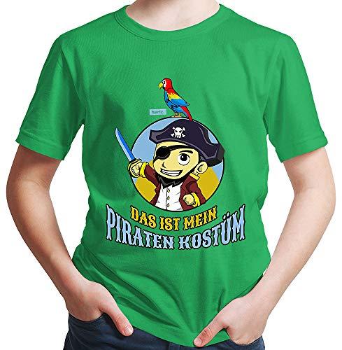 HARIZ  Jungen T-Shirt Das Ist Mein Piraten Kostüm Karneval Verkleidung Inkl. Geschenk Karte Grün 140/9-11 ()