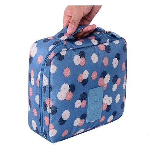 STRIR Neceser de maquillaje para mujer, bolsa moderna y bonita para cosméticos, bolso de mano para almacenar artículos de aseo personal (Azul)