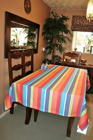 Homescapes Tischdecke Multi Stripes bunt gestreift 140 x 180 cm aus 100% reiner Baumwolle, Tischtuch (Papier Tischdecken Weihnachten)