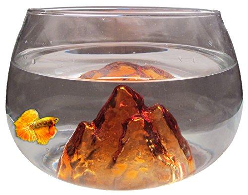 Nizzapets - Kleines rundes Glasfischbecken orange und 6.5L für Betta Fisch und Dekoration