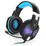 KOTION EACH G1000Diadema 3.5mm Bass Stereo Gaming Headset Auriculares de juego de PC Auriculares de diadema con micrófono Luz LED Respiración colorida para ordenador portátil Black-Blue