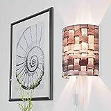 Moderne Wandlampe Grau Schirm aus geflochtenem Samt Wandleuchte mit Stecker Wohnzimmer Flur ALICE