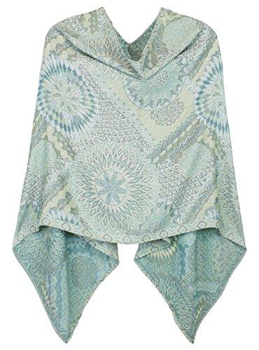 Poncho Damen Für Blusen (Damen Poncho / Cape aus weicher, leichter Viskose in Paisley Blumen Muster - WJ062 (WJ062-Jade))