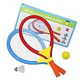 Akokie Racchetta Tennis Volano Badminton 2 in 1Giochi Allaperto Giochi da Giardino per Bambini 3 4 5
