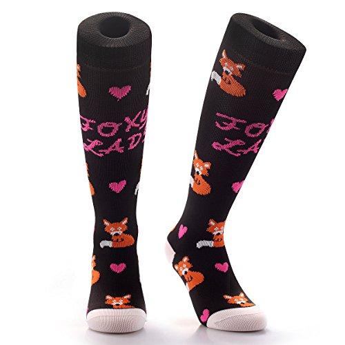 Samson® Foxy Lady Funky Funny Geschenk Neuheit Fashion Sports und Casual Knie Hohe Socken mit Animal Print und Herzen für Männer Frauen Kinder unisex Gr. S, (Halloween Spieler Mädchen Kostüm Für Fußball)