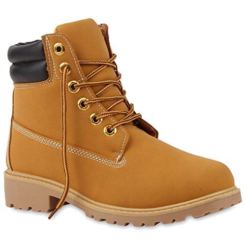 Stiefelparadies Unisex Damen Herren Worker Boots Outdoor Schnürstiefel Schuhe 107128 Coffee Hellbraun Carlet 38 Flandell