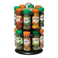 Premier Housewares 2-Tier Black Spice Rack with 16 Schwartz Spices