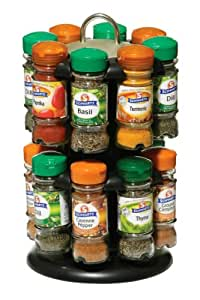 Premier Housewares 4000200 Two Tier Black Spice Rack with 16 Schwartz Spices