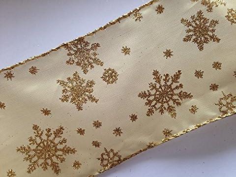 Or Satin bord Sheer filaire ruban de Noël avec paillettes Flocons Or x 2x 2m