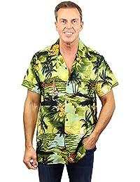 King Kameha | Funky Chemise Hawaïenne | Hommes | XS - 12XL | Manche-Courte | Poche-Avant | Hawaiian-Imprimer | Le Surf | Vert Foncé