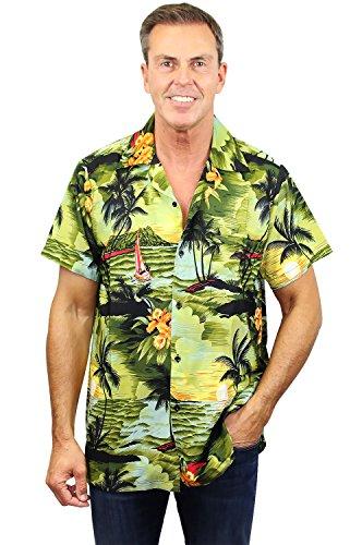 King Kameha | Funky Chemise Hawaïenne | Hommes | XS - 12XL | Manche-Courte | Poche-Avant | Hawaiian-Imprimer | Le Surf | Vert Foncé vert foncé