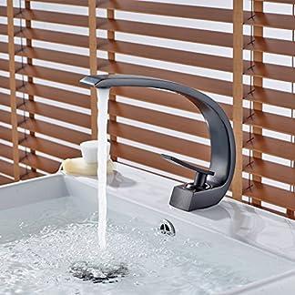 gimili nuevo cobre grande curva cromado cuarto de baño cuarto de baño grifo de Lavabo de agua fría y caliente lavabo grifos monomando, bronce aceitado