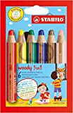 STABILO woody 3 in 1 - Buntstift, Wasserfarbe und Wachsmalkreide in einem - 6er Set