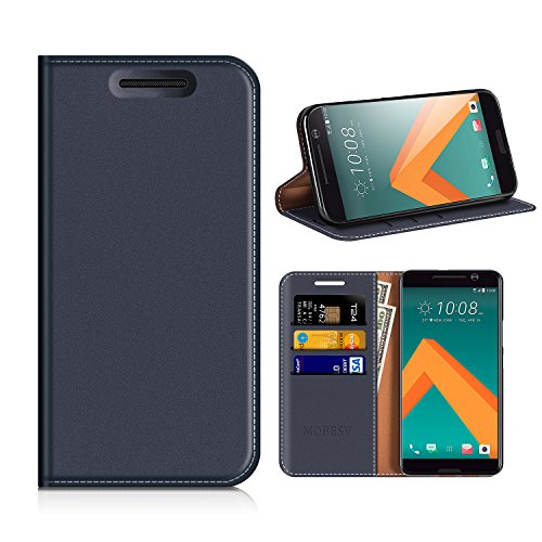 MOBESV HTC 10 Hülle Leder, HTC 10 Tasche Lederhülle/Wallet Case/Ledertasche Handyhülle/Schutzhülle mit Kartenfach für HTC 10 - Dunkel Blau