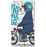 W-wishes Badetuch-Bär, lustiges niedliches betreffen Motorrad-Tierentwurfs-Handtuch-Gesichtstuch