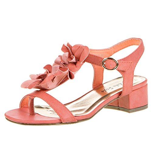 Damen Schuhe Sandaletten Riemchen Deko Blockabsatz Pumps Rosa