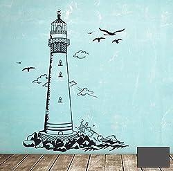 Wandtattoo Wandaufkleber Leuchtturm Lighthouse Meer maritim M1465 - ausgewählte Farbe: *Dunkelgrau* ausgewählte Größe:*L 72cm breit x 100cm hoch