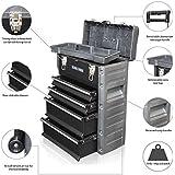 US Pro Tools - Caja de herramientas móvil, carrito-armario de almacenamiento, cajonera rodante, plástico y acero, color negro.