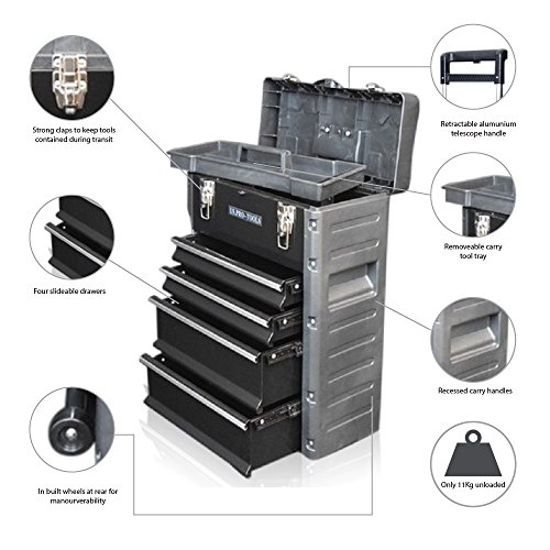 US PRO TOOLS schwarz Kunststoff Stahl Mobile Roller Brust Trolley Cart Aufbewahrung Schrank TOOL BOX (Mobile-tool-box Aluminium)