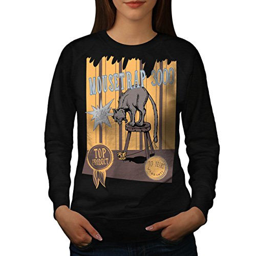 mouse-trap-cat-bait-cheese-lure-women-new-black-m-sweatshirt-wellcoda