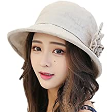 Skyeye Las Señoras Que se Encrespan Las Flores Sombrero de Lino de Algodón  UV Plegable Sombrero fb73d8b9d8c