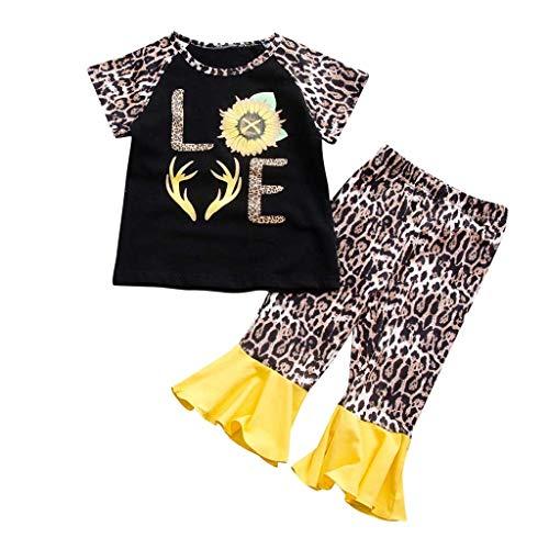Luckycat 1-7 años Ropa para bebés, niña pequeña Girasol Tops Pantalones Conjunto de Ropa Otoño...