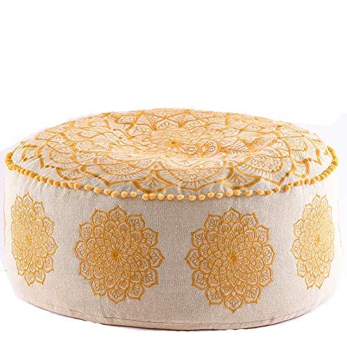 Mandala Life ART Gran Pouf Ottoman de Lujo - Pouffe Cuadrado XL - Esca