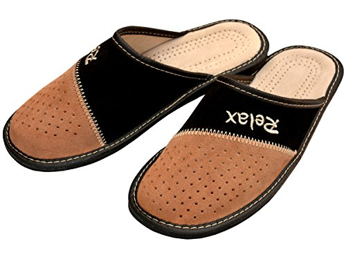 Genuine Men's Leather Slippers, Flip-Flops, Mules Beige-Black