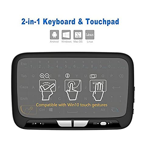 2,4 GHz Mini Wireless Tastatur und Touchpad Maus Kombination, vasteyu H18 Wiederaufladbare Fernbedienung für Google Android Smart TV Box, PC, Linux, HTPC, IPTV, XBMC, Windows 2000 XP/Vista/7/8/10
