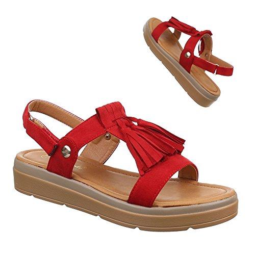 Damen Schuhe, 57532, SANDALEN FRANSEN RIEMCHEN Rot
