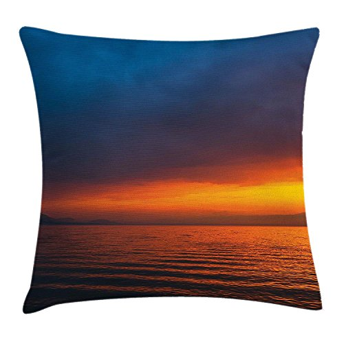 Seascape Throw Pillow Cushion Cover, Sunset Over The Lake Dusk Cloudy Sky Calm Evening Water Reflection Waves, Decorative Square Accent Pillow Case, 18 X 18 inches, Orange Petrol Blue (Toile Boudoir)