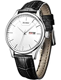 BUREI Men Watch Mens Precise Quartz Wristwatches with Day and Date Calendar Display Leather Strap (