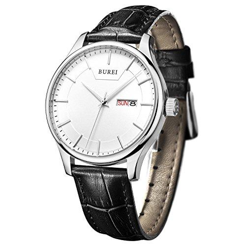 BUREI Einfaches Classic Herren Quarz Armbanduhr Weißes Ziffernblatt mit Tages und Datumsanzeige Schwarz Echtes Lederband