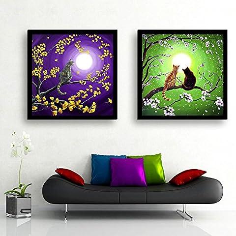 modylee Gatto Albero prossimo mese, Telone Video decorativa dipinti soggiorno camera da letto pCS2Tela pittura a olio, Black,
