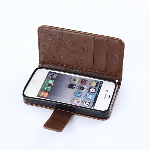 iPhone 4S Hülle,iPhone 4S Weiß Leder Handy Tasche Wallet Case Flip Cover Etui,iPhone 4S Cover,EMAXELERS iPhone 4S PU Leder Flip Wallet Case Hülle,Niedlich Muster Druck Cool Skull Blumen Design Back Hü D Pure 4