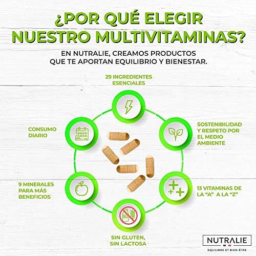 51eSJxo%2BRFL - Multivitaminas 29 Nutrientes Esenciales | Vitaminas A, B, C, D, E, K, Biotina, L-cisteína, Coenzima Q10 y 9 Minerales | Complejo Multivitamínico 60 Cápsulas | Nutralie