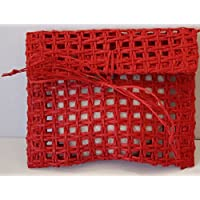 5 Portaconfetti a Busta di rete in rafia rossa compreso velina rossa - Cm 10x9 chiusa