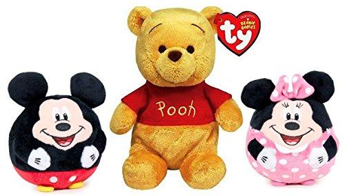 DISNEY - Pack de 3 peluches 'Winnie de Pooh' (sentado 20cm y 27cm de pie), y 2 bolas de peluche 'Mickie' & 'Minnie' (14cm) - Calidad Super Soft