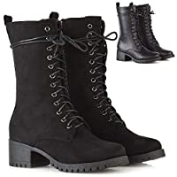 ESSEX GLAM Womens Lace Up Mid Calf Chunky Block Low Heel Boots Ladies Grip Sole Platform Combat Shoes