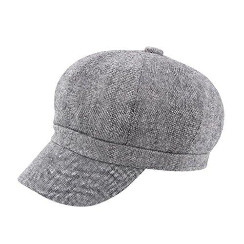 Sansee Unisex Wintermütze Vintage Baumwolle Hut Wintermütze Vintage Warmer Baskenmütze Hüte (Grau, H-123) (Kurze Pima-baumwolle)