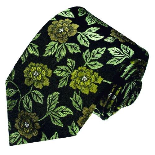 Lorenzo Cana - Florale Krawatte aus 100% Seide grün schwarz Blumen - Blumenschlips Rosen - 84499 (Schwarze Seide Rosen)