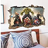 Gamloious Amovible 3D The Avengers Hulk Ultron Enfants Autocollant Sticker Mural Papier Peint décor Un
