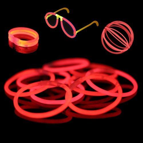 100 8 Premium Glow Stick Bracelets (Red) by USglow Laboratories