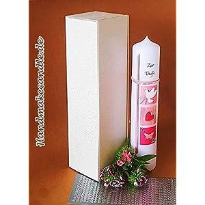 Taufkerze für Mädchen, 300/60 mm, Zubehör zum selbstbeschriften dabei, Verpackungskarton kann für die Aufbewahrung der Kerze später benutzt werden. Handarbeit.
