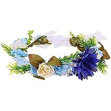 Diadema de flor guirnalda Floral corona guirnalda para fiesta de boda Featival ( Azul )