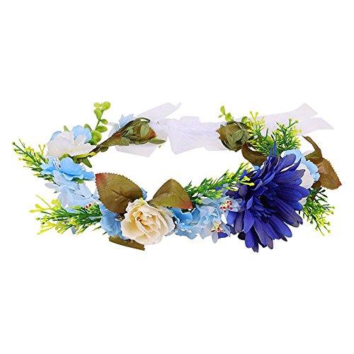 OKBO Frauen/Mädchen Seide Garn blumen Krone Haarschmuck BlumenKranz Haare Stirnband Garland Blumenstirnband Erwachsene oder Kinder(Blau)